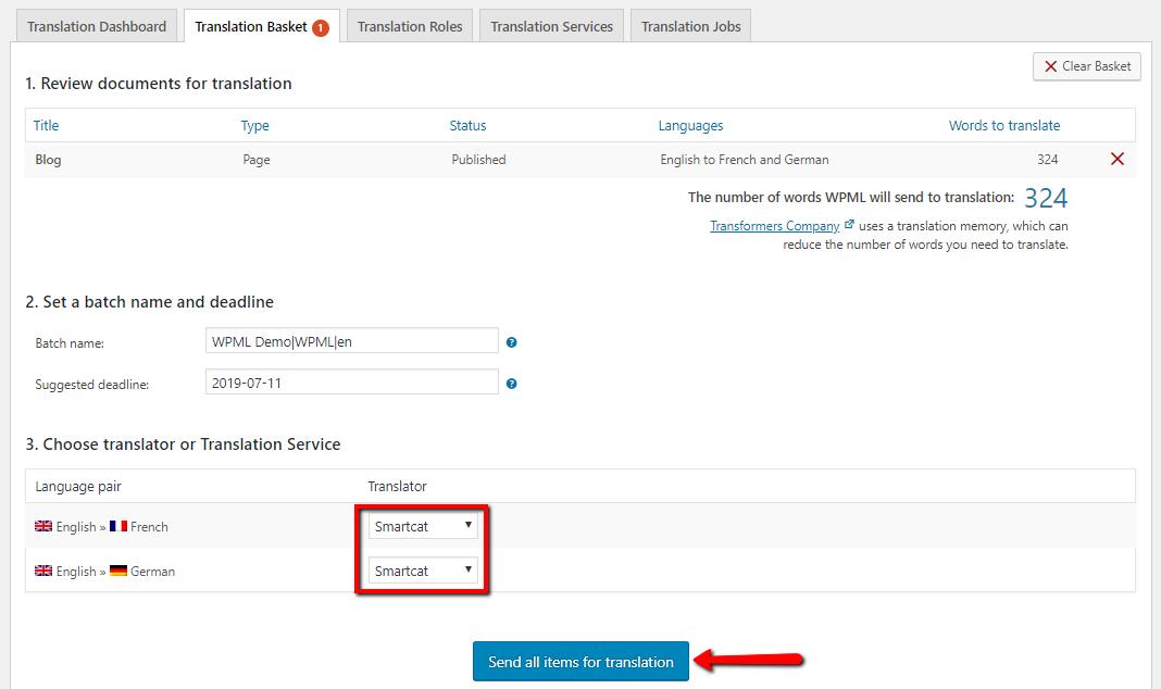 Sending items for translation (Smartcat)