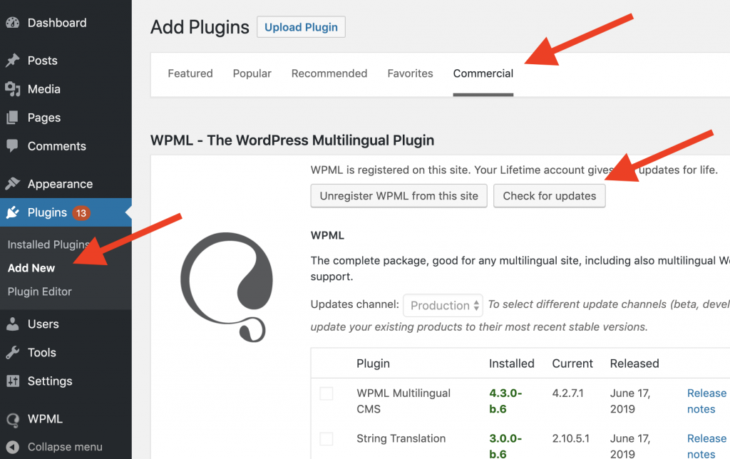 How to force WPML update
