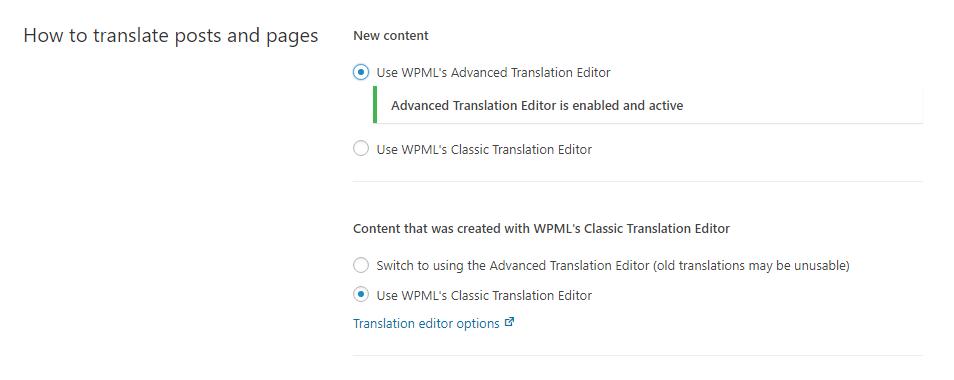 خيار محرر الترجمة في صفحة إعدادات WPML