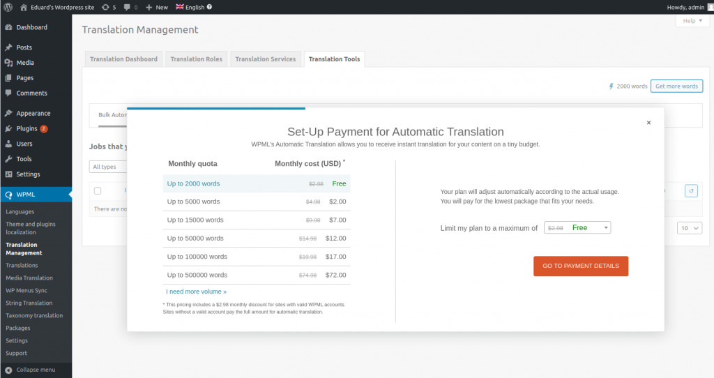 The dialog for setting up your automatic translation subscription