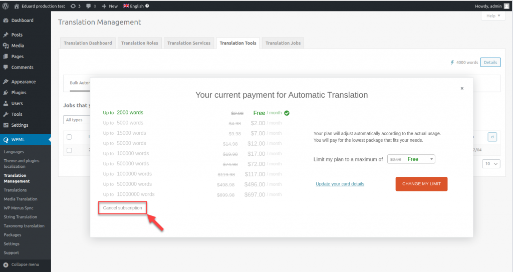Link de cancelamento da assinatura de tradução automática