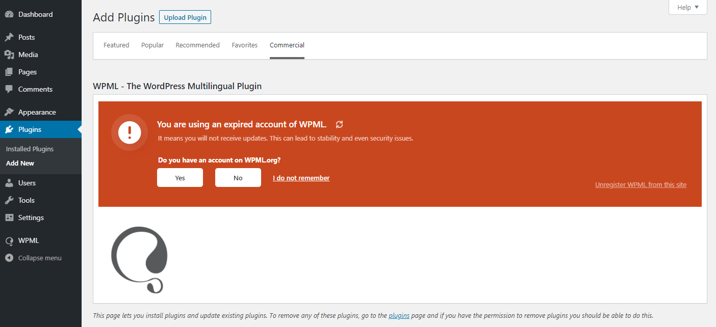 A notice about using an expired WPML account