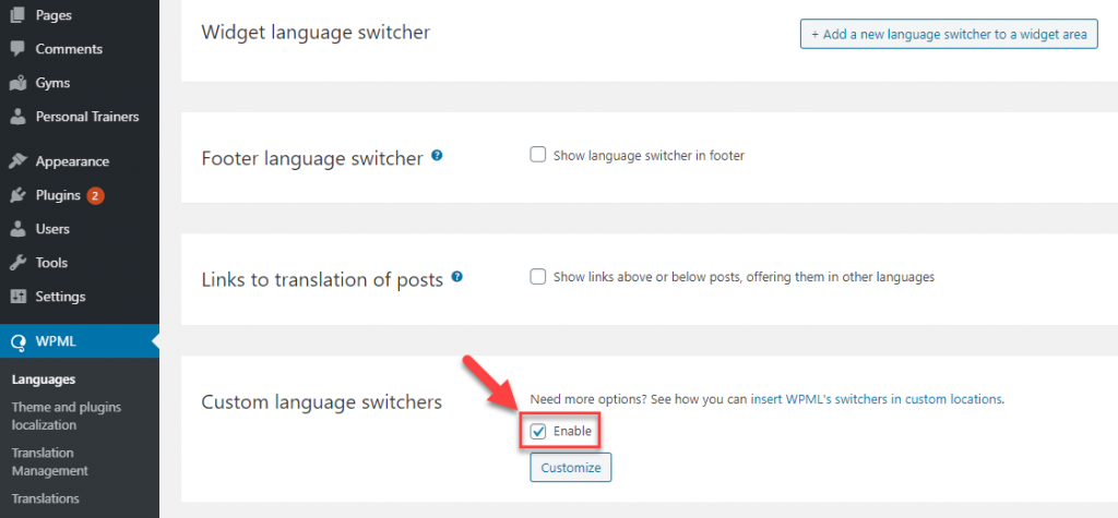 "Enabling the ""Custom language switchers"" option"