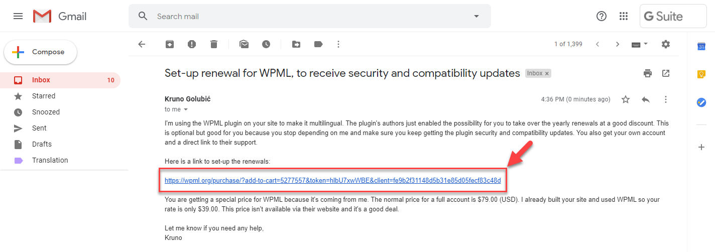 An example of an email from your developer inviting you to take ownership of WPML on your site