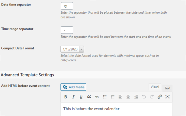 The Events Calendar Options