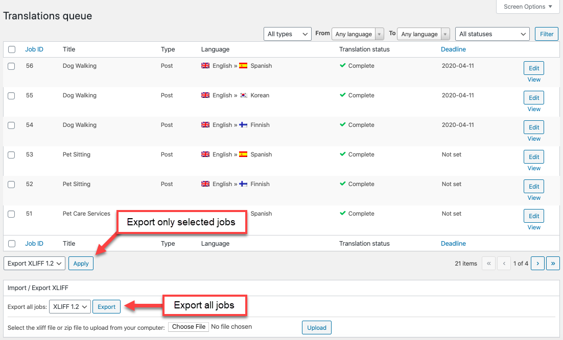 Exporting WPML jobs to an XLIFF file