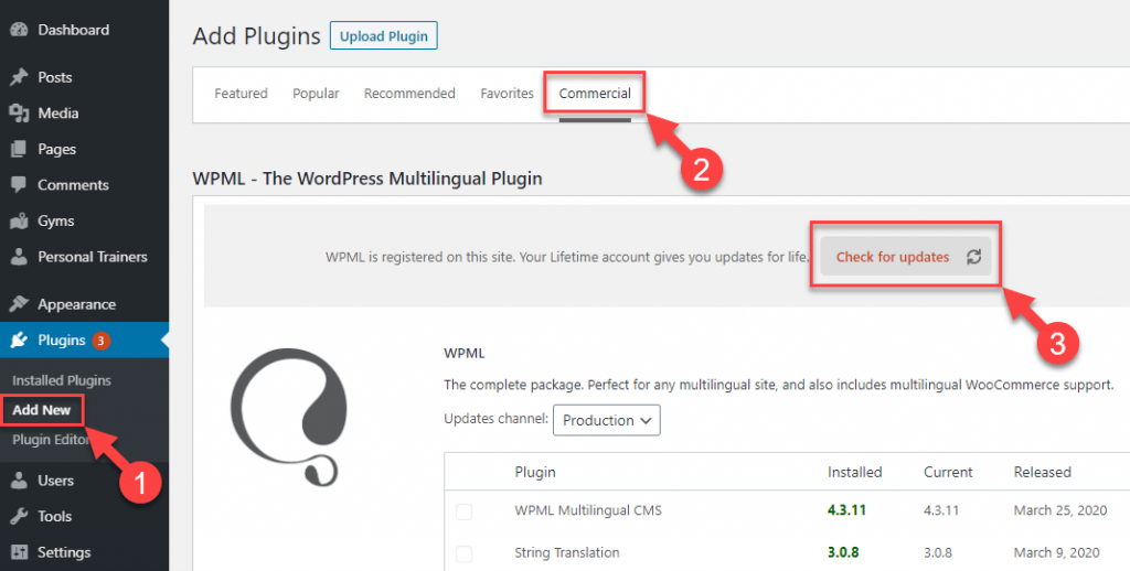 Manually installing WPML plugin updates