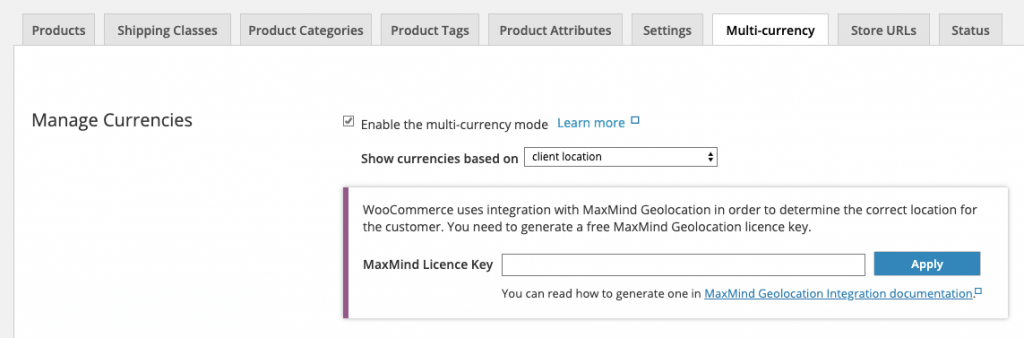 Choosing to show currencies based on client location