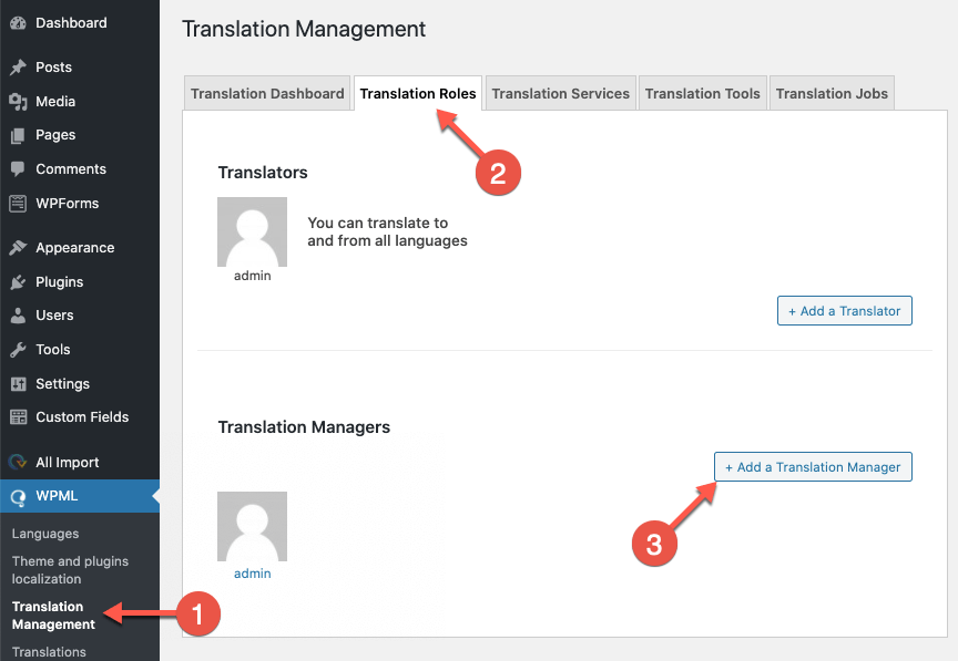Setting a Translation Manager in the Translation Roles settings