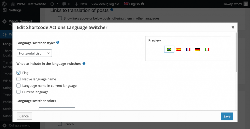 Language switcher options