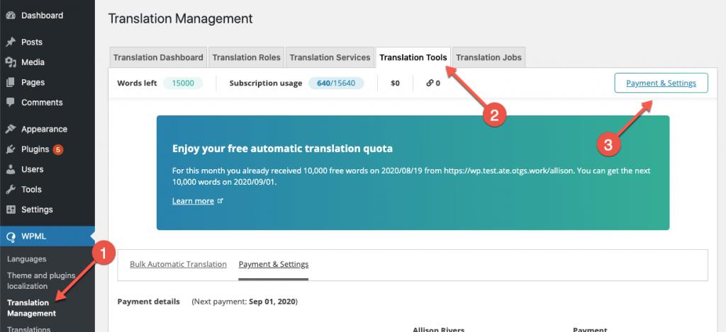 Navigating to the Translation Tools settings