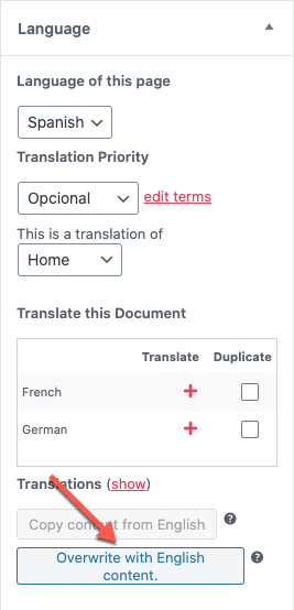 Converting a translation to a duplicate