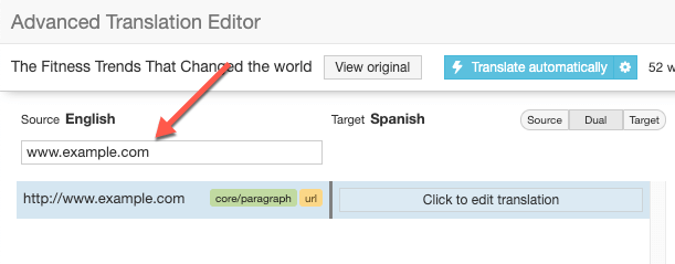 Finding a URL to translate in the Advanced Translation Editor