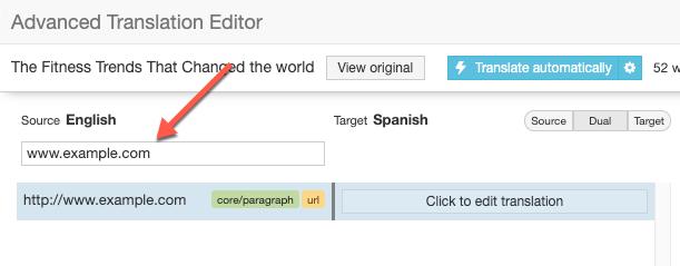 Поиск URL-адреса для перевода в Расширенном редакторе перевода