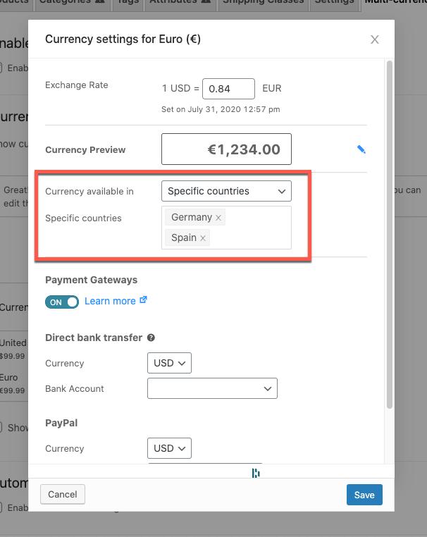 Adjusting currency settings