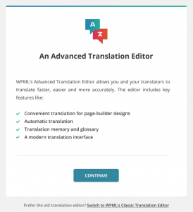 Continuing with the Automatic Translation Editor in the setup wizard