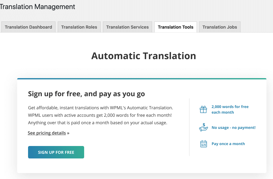 Signing up for automatic translation