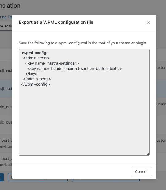 Exporting as a WPML configuration file