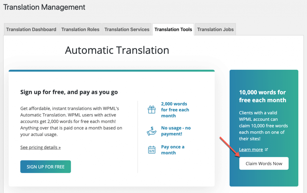 Claiming free words for automatic translation