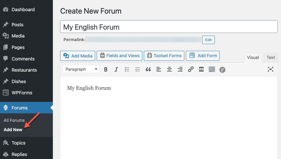 Creating a new forum in English, our default language