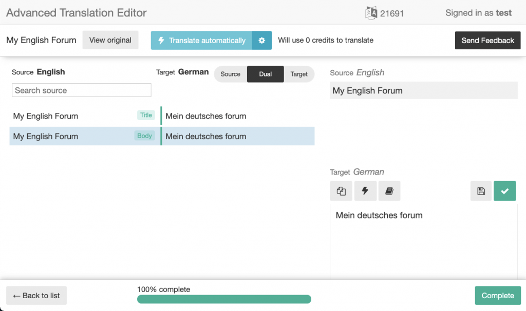 Translating the forum text in the Advanced Translation Editor