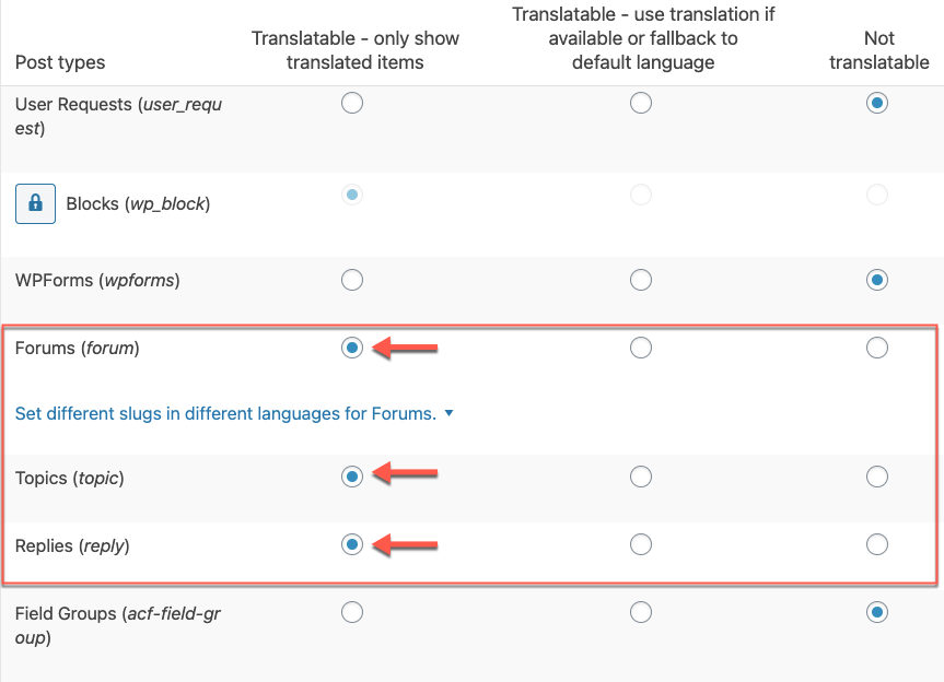 Setting the bbPress custom post types as translatable