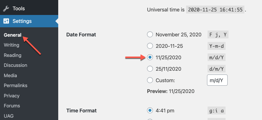 Selecting the date format for the default language