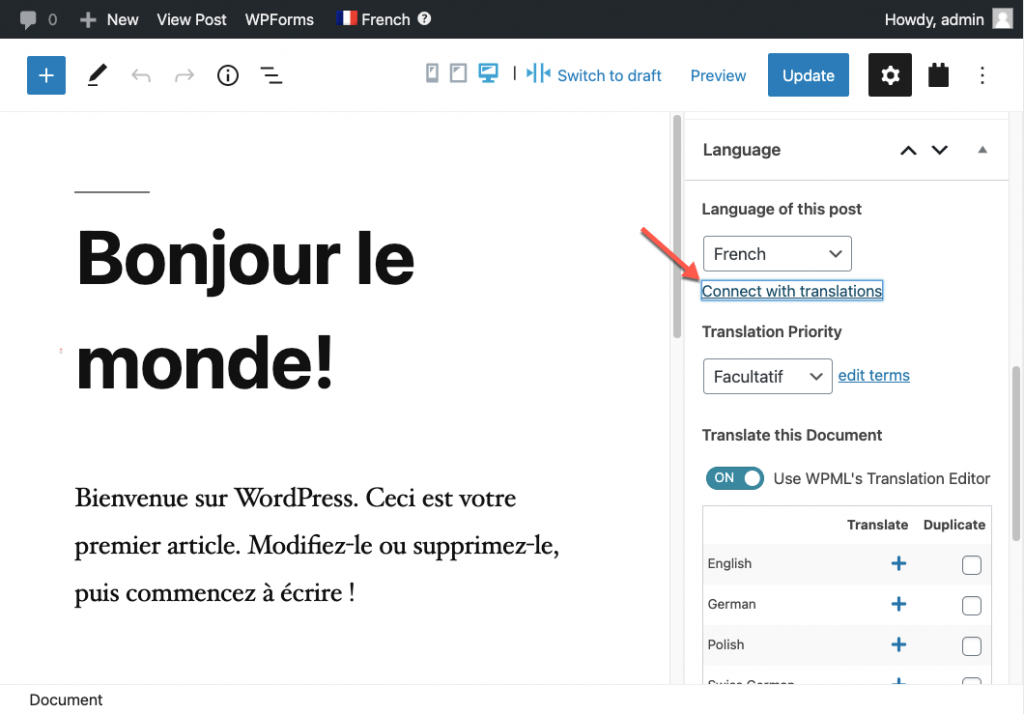 Connecting the secondary language post as a translation of a different default language post
