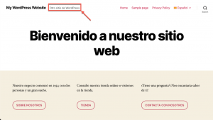 The tagline still appears in the site's default language in the backend