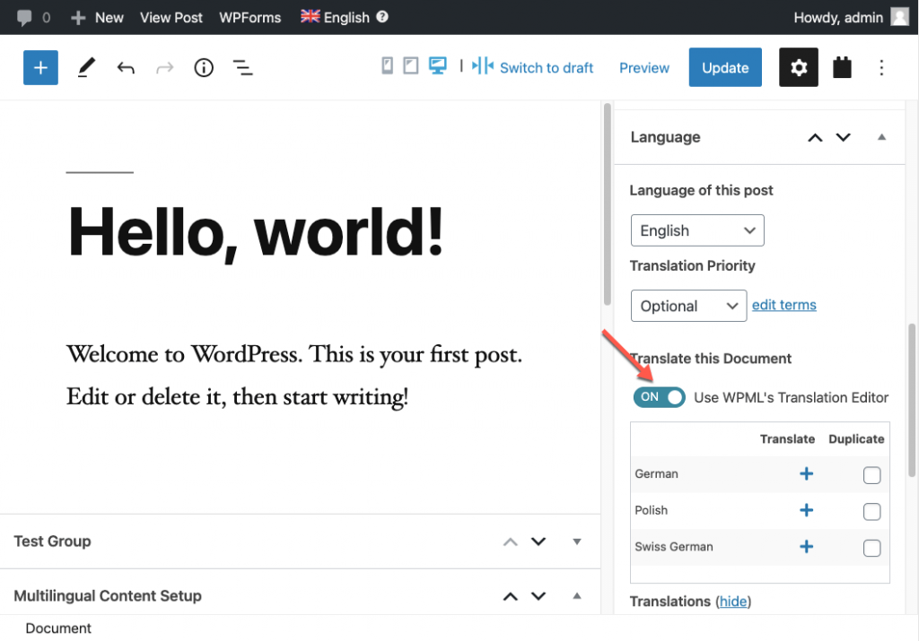 Turning off the WPML Translation Editor