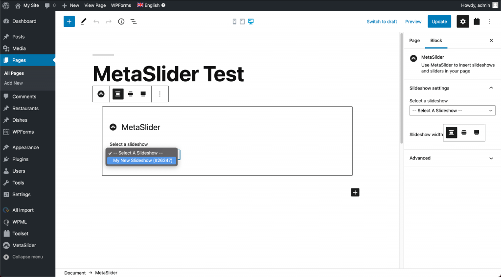 Adding a slider to a post or page using the MetaSlider block