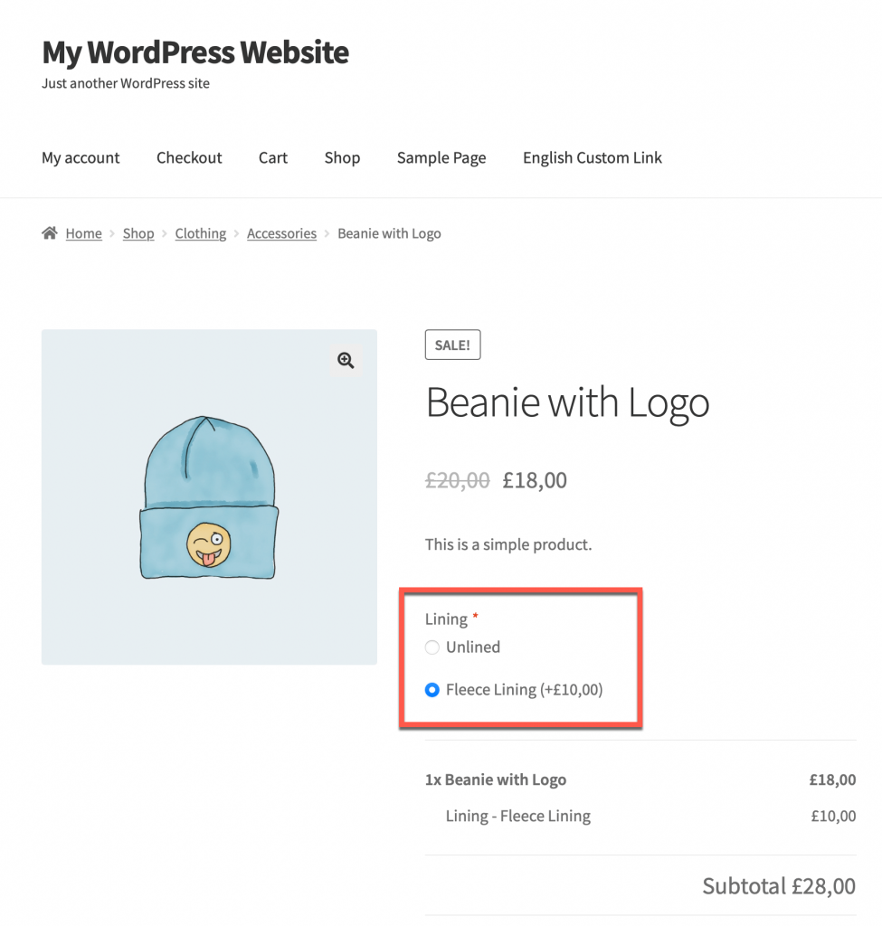 Example of a product add-on created with the Product Add-On extension