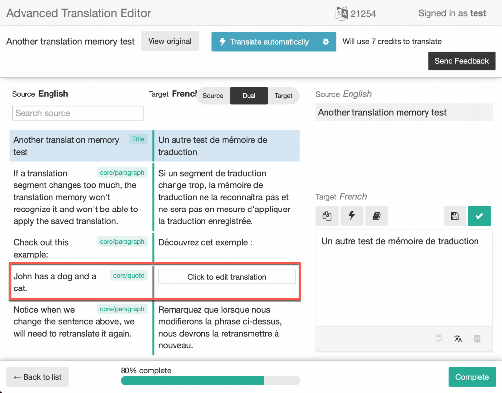 Translation memory does not recognize the updated segment and treats it as a new segment that needs a translation