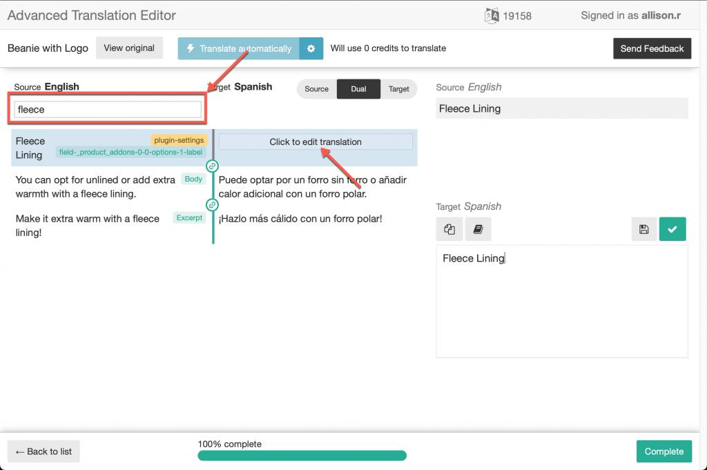 Translating product add-on fields