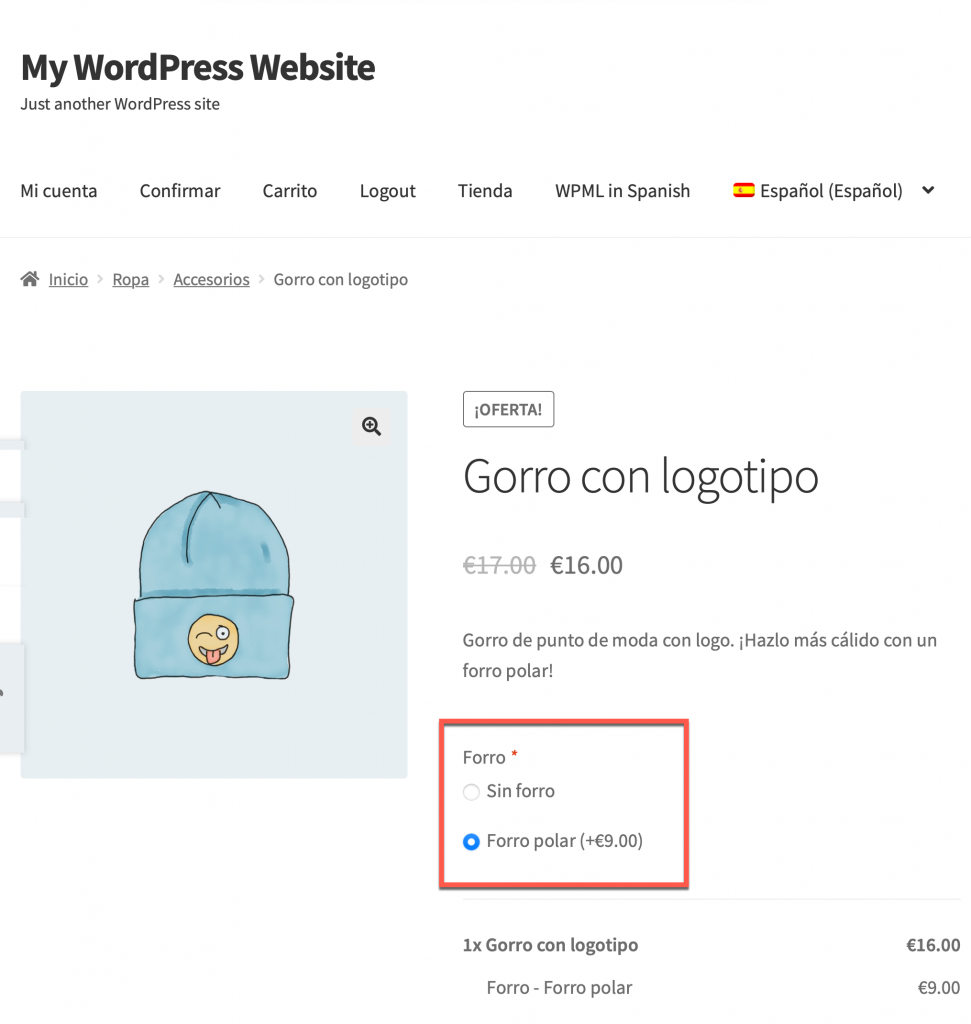 Translated product add-on fields on the front-end
