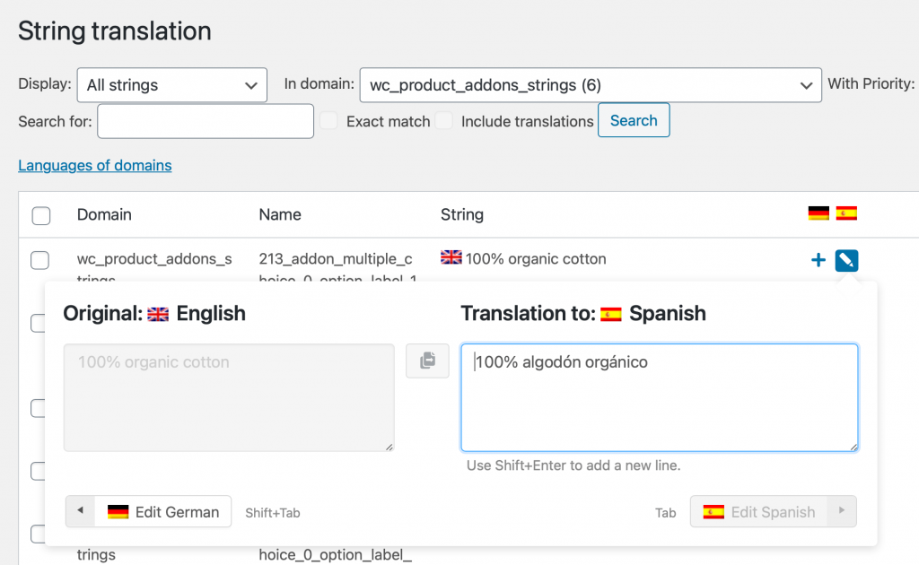 Translating additional strings related to product add-ons