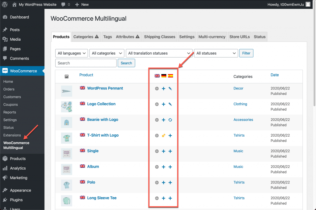 WooCommerce Multilingual main page that lists the shop's products