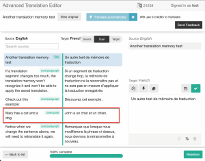 Translation memory applies a saved translation that is different by one word