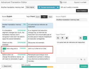 Translation memory applies a saved translation that is different in styling
