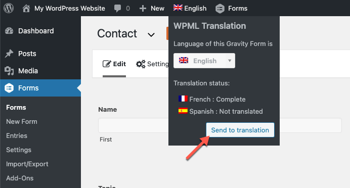 Sending the form for translation from the language switcher
