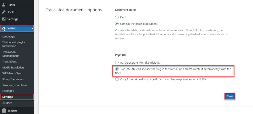 Setting the option to Translate