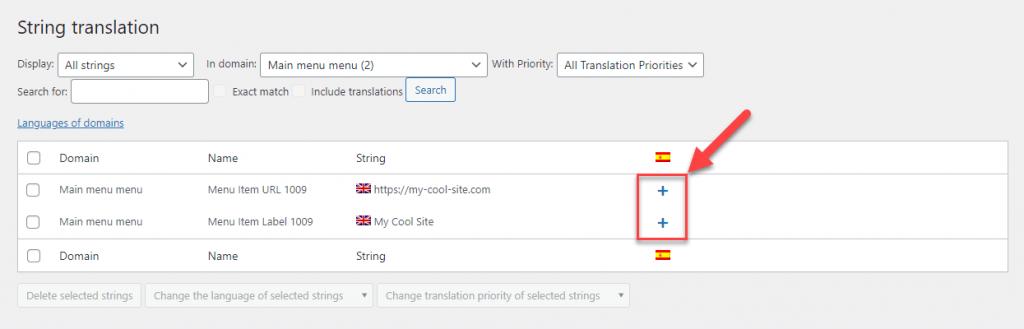 תרגם את פריט התפריט ואת הקישור