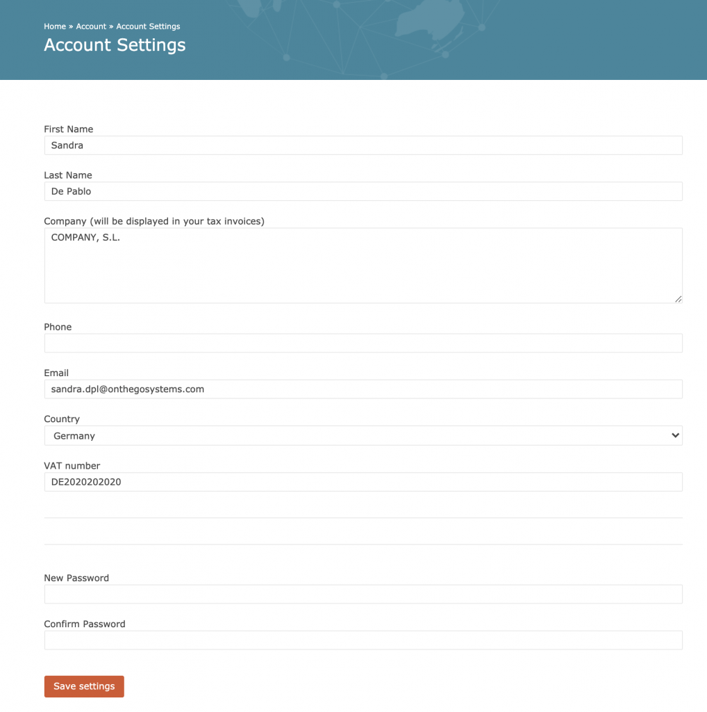 Updating billing information for future invoices