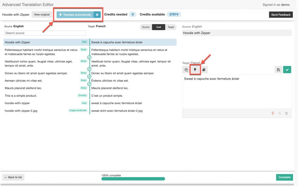 Options de traduction automatique dans l'éditeur de traduction avancé
