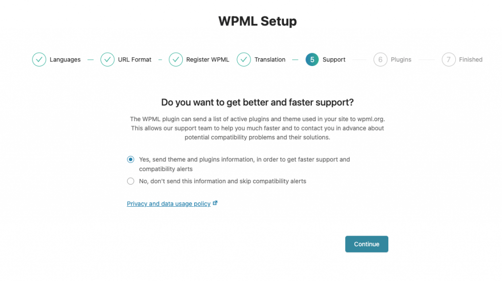 Compatibility settings in the WPML setup wizard