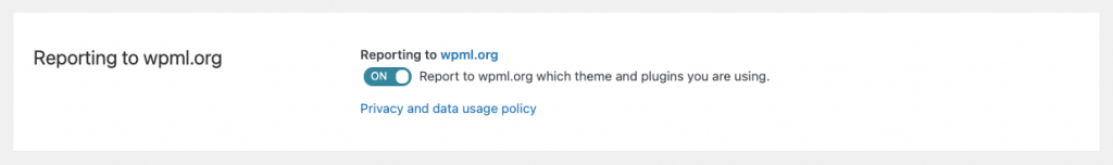 Reporting to wpml.org setting