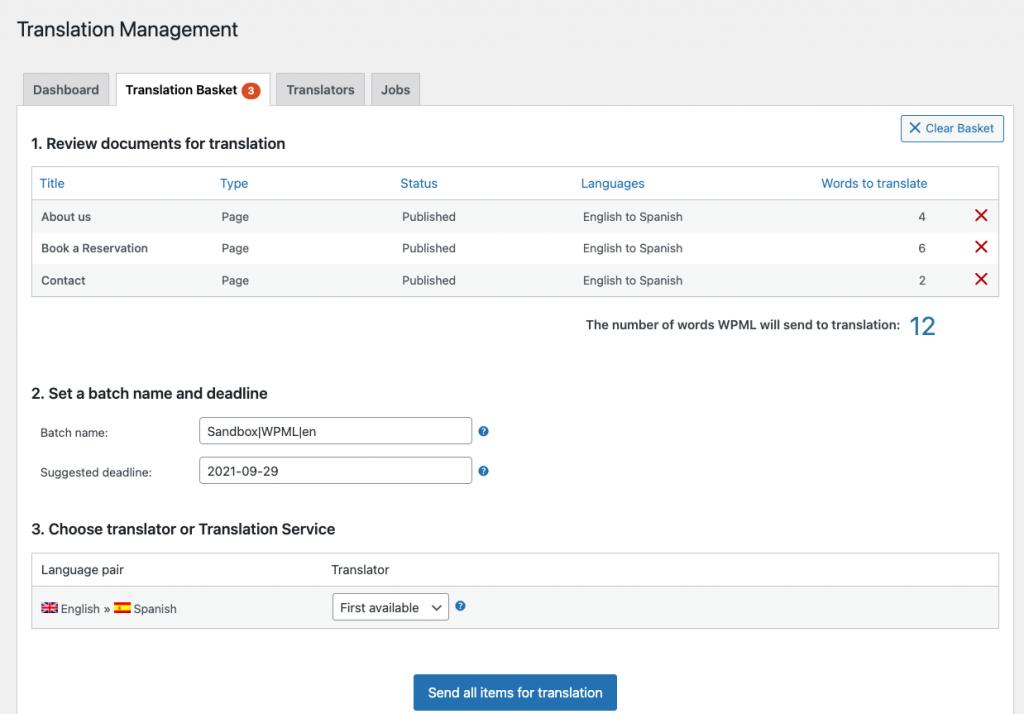 Zuteilen von Übersetzungsaufträgen zu einem Übersetzer im Übersetzungskorb