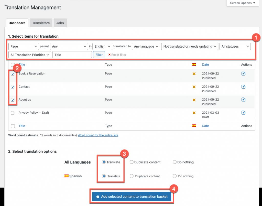 Einsenden von Seiten zur Übersetzung mit dem Translation Management-Dashboard