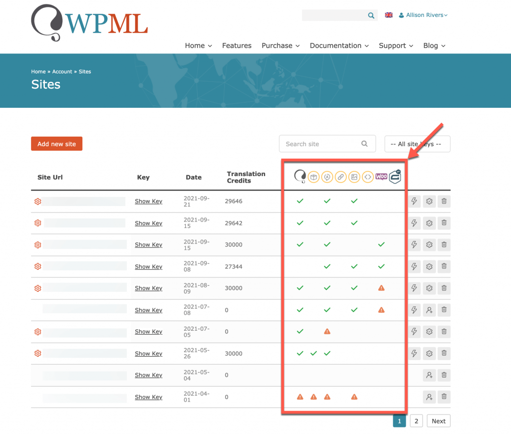 Viewing WPML plugins installed on your registered sites
