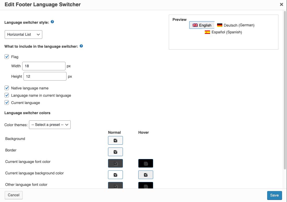 Paramètres du sélecteur de langue du pied de page